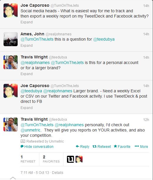Unmetric twitter referral